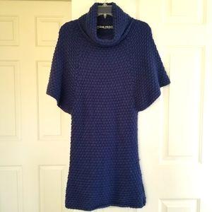 ZARA Knit Blue Flutter Sleeve Mockneck Bodycon Mini Dress